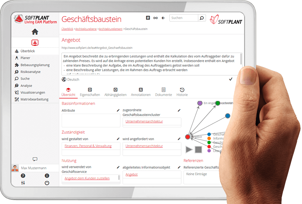 Bild: Screenshot Living EAM Platform by Softplant GmbH