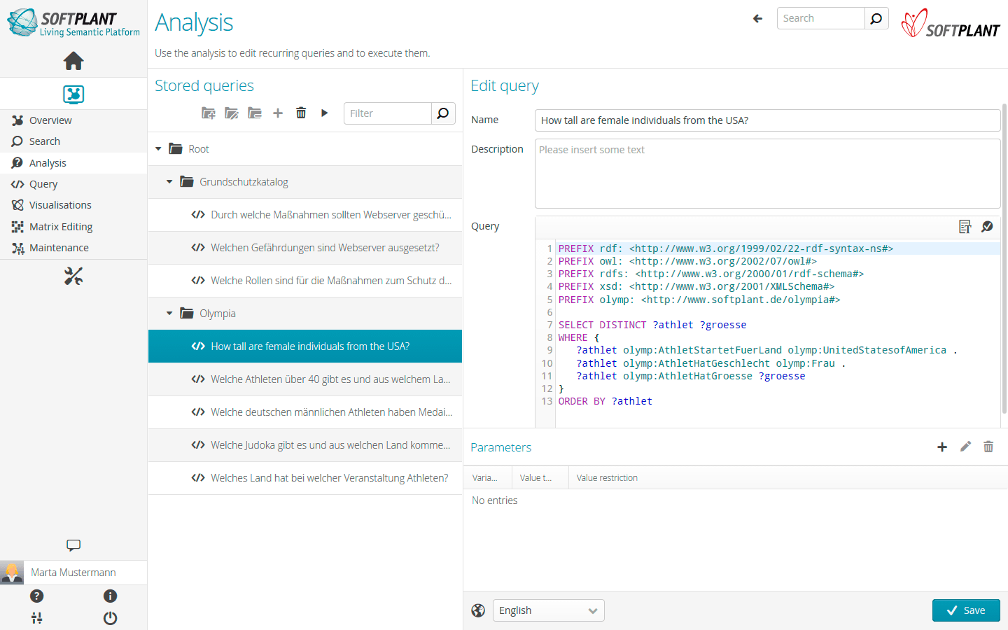 Integrated Codeeditor: Use an integrated code editor to create SPARQL queries